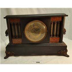 Mantel Clock, Cast Feet & Handles, Brass Face