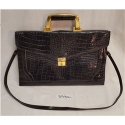 Veneto Alligator Black Satchel w/carrying Handle & Shoulder Strap