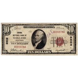 1929 $10 National Currency Note Oakland, CA CH#9502