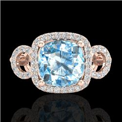 3.75 CTW Topaz & Micro VS/SI Diamond Ring 14K Rose Gold - REF-54N9Y - 23013