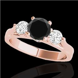 1.75 CTW Certified VS Black Diamond 3 Stone Ring 10K Rose Gold - REF-96Y5K - 35380