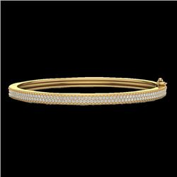 1.50 CTW Micro Pave VS/SI Diamond Bangel Bracelet 14K Yellow Gold - REF-176N2Y - 20035