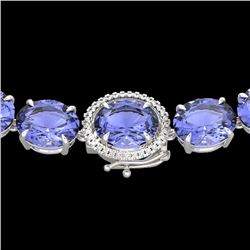 170 CTW Tanzanite & VS/SI Diamond Halo Micro Eternity Necklace 14K White Gold - REF-3163T6M - 22317