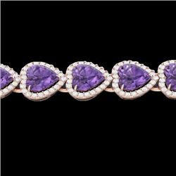 23 CTW Amethyst & Micro Pave Bracelet Heart Halo 14K Rose Gold - REF-378F5N - 22610