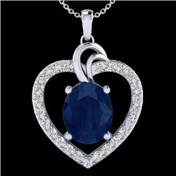 4 CTW Sapphire & VS/SI Diamond Designer Inspired Heart Necklace 14K White Gold - REF-74Y9K - 20496