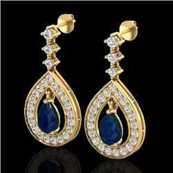 2.25 CTW Sapphire & Micro Pave VS/SI Diamond Earrings Designer 14K Yellow Gold - REF-105W5F - 23156