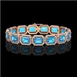 35.61 CTW Swiss Topaz & Diamond Halo Bracelet 10K Rose Gold - REF-337X3T - 41556