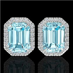 12 CTW Sky Blue Topaz And Micro Pave VS/SI Diamond Halo Earrings 18K White Gold - REF-78Y2K - 21219
