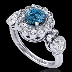 1.5 CTW Intense Blue Diamond Solitaire Art Deco 3 Stone Ring 18K White Gold - REF-218W2F - 37852