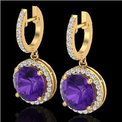 4 CTW Amethyst & Micro Pave VS/SI Diamond Designer Halo 18K Yellow Gold - REF-87F8N - 23177