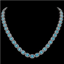 33.25 CTW Swiss Topaz & Diamond Halo Necklace 10K White Gold - REF-506H4A - 40433