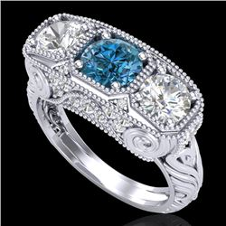 2.51 CTW Intense Blue Diamond Solitaire Art Deco 3 Stone Ring 18K White Gold - REF-345Y5K - 37719
