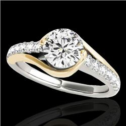 1.25 CTW H-SI/I Certified Diamond Solitaire Ring 10K White & Yellow Gold - REF-156H2A - 35551