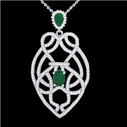 3.50 CTW Emerald & Micro VS/SI Diamond Heart Necklace Solitaire 14K White Gold - REF-179H6A - 21248