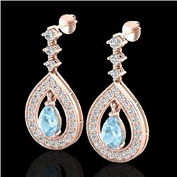 2.25 CTW Aquamarine & Micro Pave VS/SI Diamond Earrings Designer 14K Rose Gold - REF-103W3F - 23146