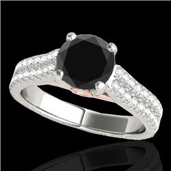 2.11 CTW Certified VS Black Diamond Pave Ring 10K White & Rose Gold - REF-88K9W - 35468