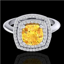 1.77 CTW Citrine & Micro VS/SI Diamond Pave Halo Ring 18K White Gold - REF-63H6A - 20757