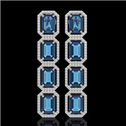 18.99 CTW London Topaz & Diamond Halo Earrings 10K White Gold - REF-184H4A - 41606