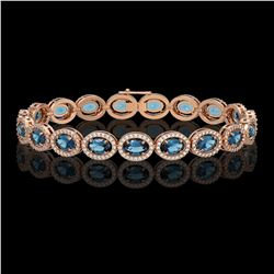 14.82 CTW London Topaz & Diamond Halo Bracelet 10K Rose Gold - REF-232A5X - 40488