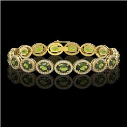 21.71 CTW Tourmaline & Diamond Halo Bracelet 10K Yellow Gold - REF-338Y9K - 40624