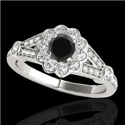 1.9 CTW Certified VS Black Diamond Solitaire Halo Ring 10K White Gold - REF-85M8H - 34039