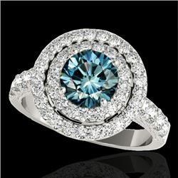 2.25 CTW Si Certified Fancy Blue Diamond Solitaire Halo Ring 10K White Gold - REF-218W2F - 34216
