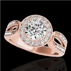 1.4 CTW H-SI/I Certified Diamond Solitaire Halo Ring 10K Rose Gold - REF-180H2A - 34559