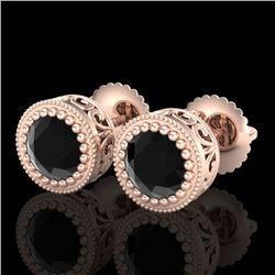 1.09 CTW Fancy Black Diamond Solitaire Art Deco Stud Earrings 18K Rose Gold - REF-50A2X - 37479