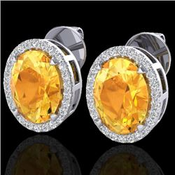 5.50 CTW Citrine & Micro VS/SI Diamond Halo Earrings 18K White Gold - REF-63A3X - 20246