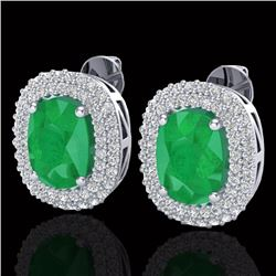 6.30 CTW Emerald & Micro Pave VS/SI Diamond Halo Earrings 18K White Gold - REF-160F9N - 20120