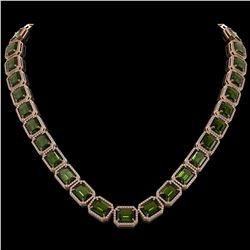 80.65 CTW Tourmaline & Diamond Halo Necklace 10K Rose Gold - REF-1047M6H - 41496