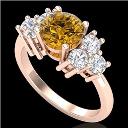 2.1 CTW Intense Fancy Yellow Diamond Solitaire Classic Ring 18K Rose Gold - REF-290N9Y - 37610