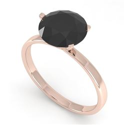 2.0 CTW Black Certified Diamond Engagement Ring Martini 18K Rose Gold - REF-73A3X - 32249