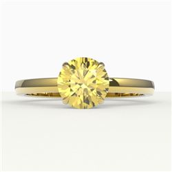 2 CTW Citrine Designer Inspired Solitaire Engagement Ring 18K Yellow Gold - REF-30N4Y - 22219