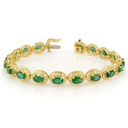 10.0 CTW Emerald Bracelet 10K Yellow Gold - REF-109X3T - 11537