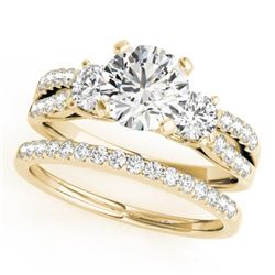 1.71 CTW Certified VS/SI Diamond 3 Stone 2Pc Wedding Set 14K Yellow Gold - REF-398W9F - 32044