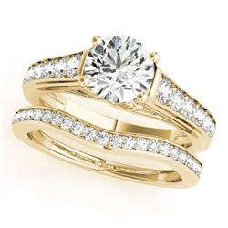 1.45 CTW Certified VS/SI Diamond Solitaire 2Pc Wedding Set 14K Yellow Gold - REF-232A8X - 31627