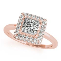 0.8 CTW Certified VS/SI Princess Diamond Solitaire Halo Ring 18K Rose Gold - REF-113H3A - 27160