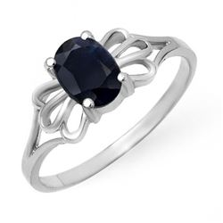 1.10 CTW Blue Sapphire Ring 10K White Gold - REF-10W9F - 12296