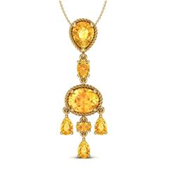 8 CTW Citrine Necklace Designer Vintage 10K Yellow Gold - REF-34H4A - 20400