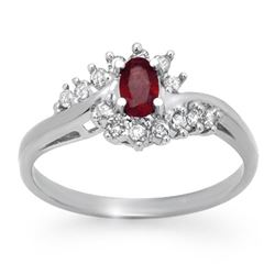 0.45 CTW Ruby & Diamond Ring 10K White Gold - REF-24M2H - 12414