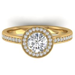 1.1 CTW Certified VS/SI Diamond Solitaire Micro Halo Ring 14K Yellow Gold - REF-188A5X - 30353