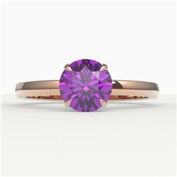 2 CTW Amethyst Designer Inspired Solitaire Engagement Ring 14K Rose Gold - REF-25X6T - 22208