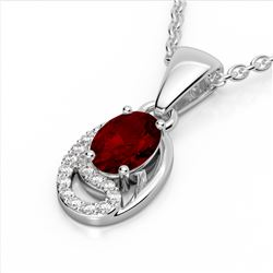 1.25 CTW Garnet & Micro Pave VS/SI Diamond Necklace 10K White Gold - REF-18A9X - 22352