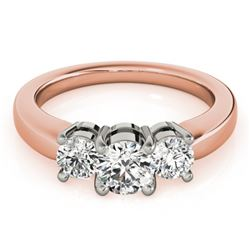 0.75 CTW Certified VS/SI Diamond 3 Stone Ring 18K Rose Gold - REF-128W5F - 28063