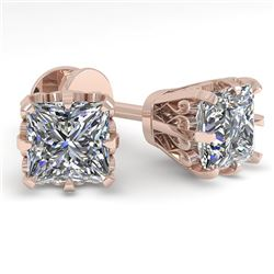 1.0 CTW VS/SI Princess Diamond Stud Solitaire Earrings 18K Rose Gold - REF-178H2A - 35672