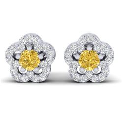 0.65 CTW Citrine & Micro Pave VS/SI Diamond Earrings Moon Halo In 10K White Gold - REF-33A5X - 21210
