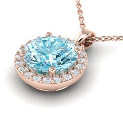 2 CTW Sky Topaz & Halo VS/SI Diamond Micro Pave Necklace 14K Rose Gold - REF-34H2A - 21554