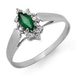 0.25 CTW Emerald Ring 18K White Gold - REF-18A8X - 12907