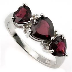 ***** FEATURE ITEM **** RING - 3 CTW HEART FACETED GARNETS & DIAMONDS IN 925 STERLING SILVER SETTING